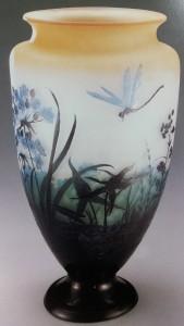 蜻蛉に水草文大花瓶