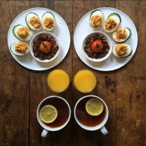 Breakfast-tea-tomatoes-nuts-cucumbers