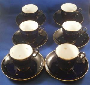セーブルのコバルトブルーのカップ&ソーサー6客セット