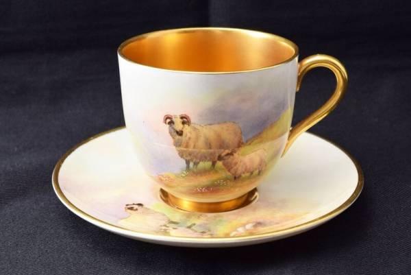 ロイヤルウースター ハイランド地方の羊のカップ&ソーサー