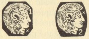 左:フランスシルバーのホールマーク ミネルバ(右向き横顔)(950/1000) 右:フランスシルバーのホールマーク(800/1000)