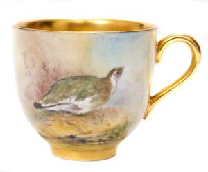 『イギリスアンティーク・ロイヤルウースター社の2羽の小鳥と風景図』