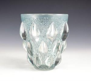 ルネラリック Rene Lalique 1927年製 ランピオン(Rampillion)花エッチング オパールブルー 花瓶