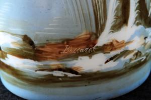 バカラ オパークリンクリスタルの小鳥の花瓶のサイン