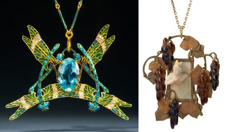 ルネラリック作 ゴールドペンダント、ダイヤモンドとエナメル