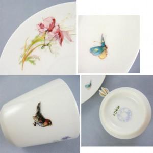 リモージュ 小鳥と風景が描かれたバタフライハンドルのカップ&ソーサー