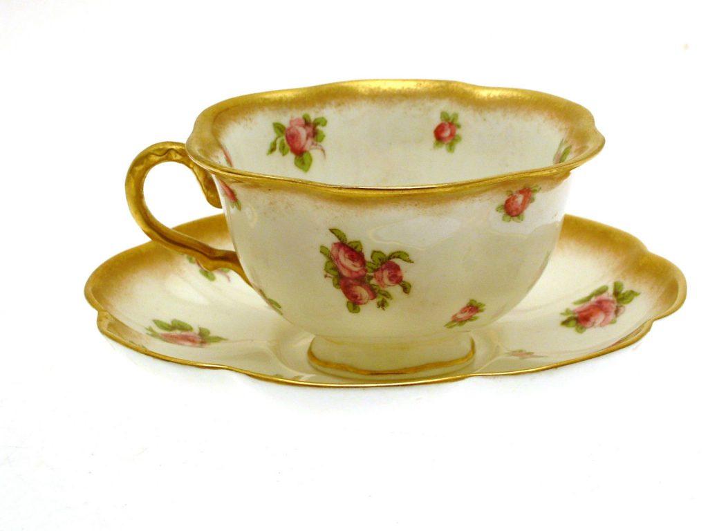 ジョージジョーンズのコーヒーカップ&ソーサー(ピンクローズ)