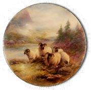 ロイヤルウースター ハリーディビス作 ハイランド地方の羊の飾り皿