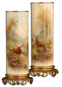 ロイヤルウースター スティントン作 鹿と風景の花瓶