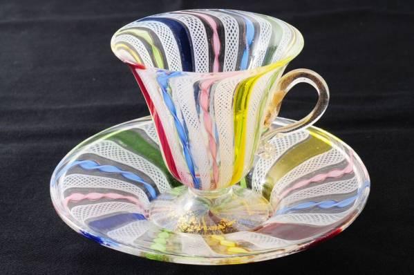 ベネチアングラス(ムラノガラス)ヴェネチアのラッティーノカップ&ソーサー