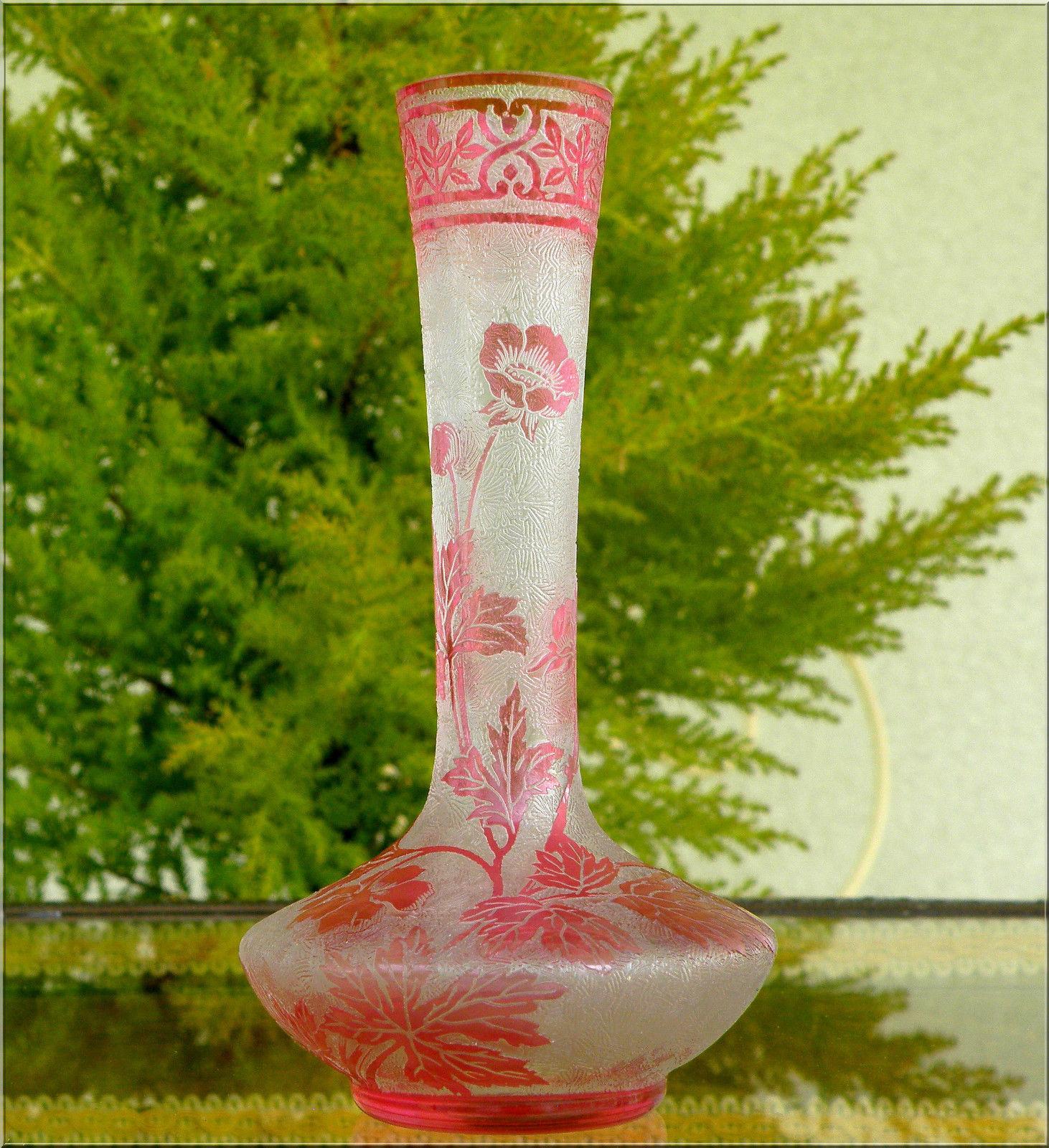 バカラ ピンクのエグランチエ技法の花瓶