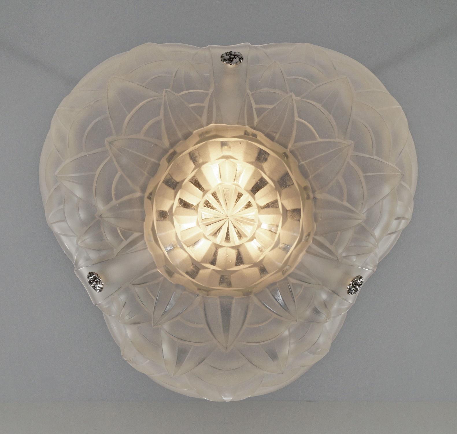 ドュゲ(Degue)幾何学模様のアンティーク照明 ペンダントシャンデリア