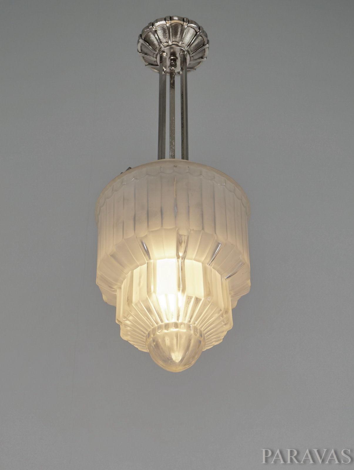 ドーム兄弟 幾何学模様のアンティーク照明 ペンダントライト