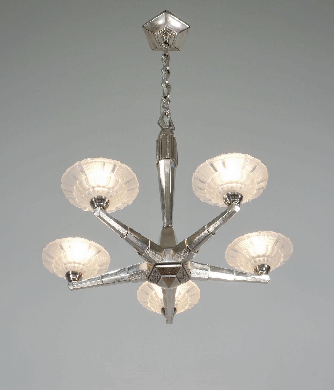 エティエ・ヴァンソン 幾何学模様の5灯シャンデリア