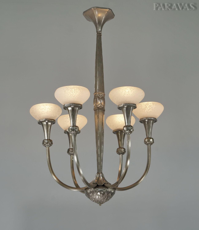 フランスのガラス工芸家 シュナイダー兄弟 6灯シャンデリア