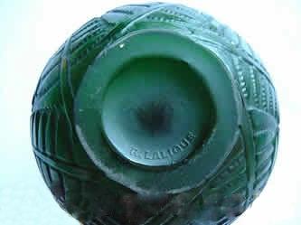 ルネラリック(Rene Lalique)の偽物の花瓶 エスパリオンのサイン