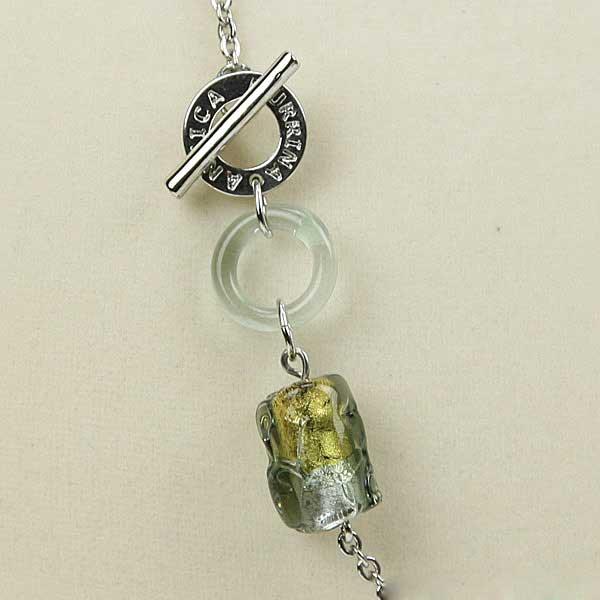 ベネチアングラス(ムラノガラス) ネックレス エア シルバーグレイ