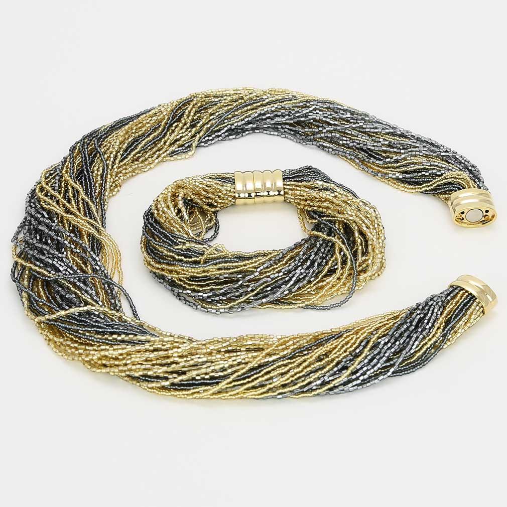ベネチアングラス(ムラノガラス)ドグレッサ 48連ビーズネックレス&ブレスレット ゴールド&グレイ
