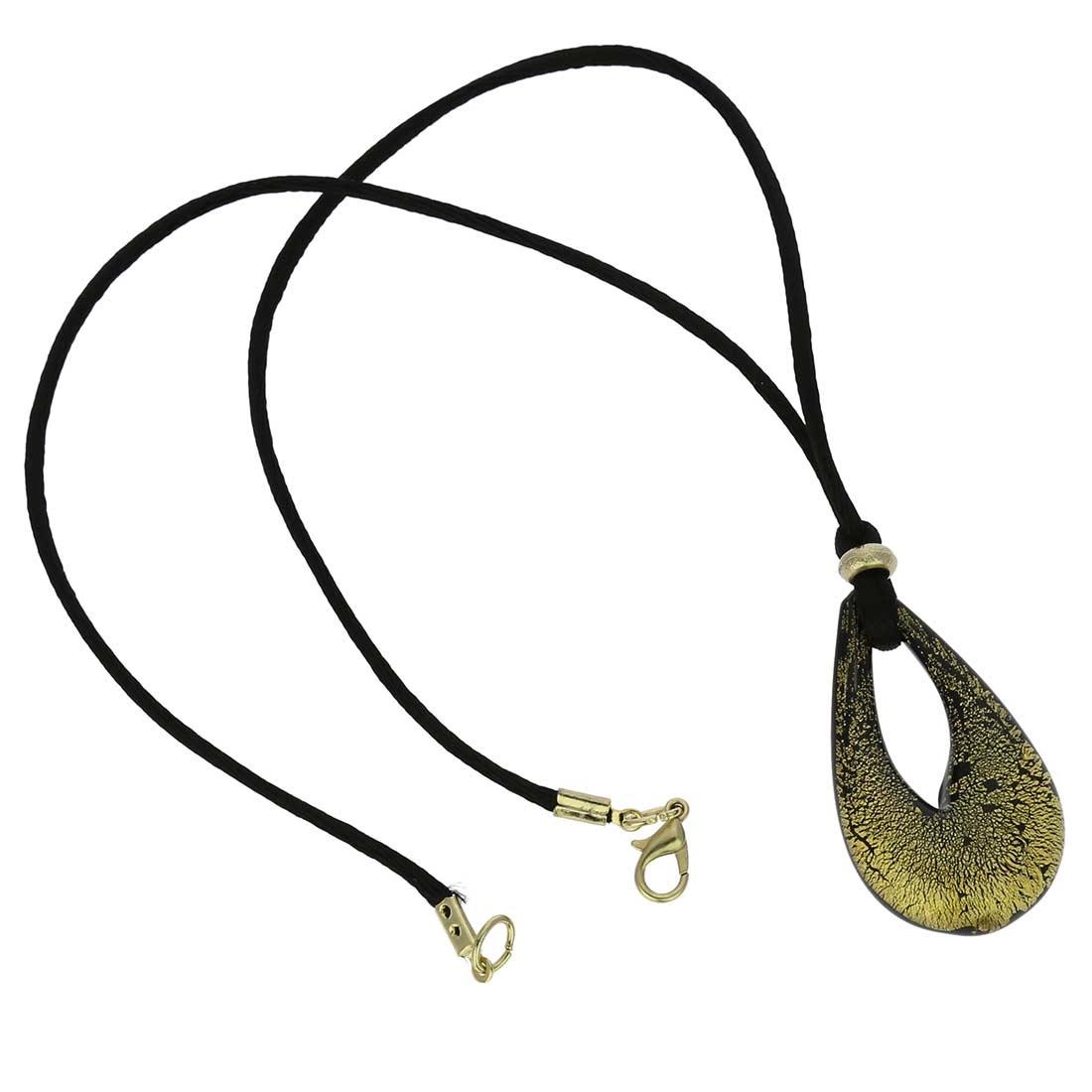 ベネチアングラス(ムラノガラス) ネックレス ジェマ ブラック