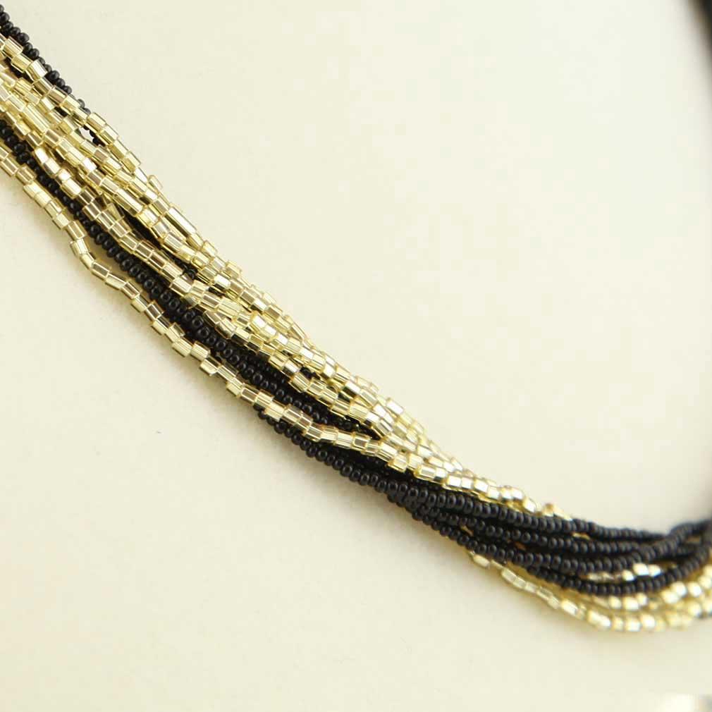 ベネチアングラス(ムラノガラス) 12連ビーズネックレス ブラック&ゴールド