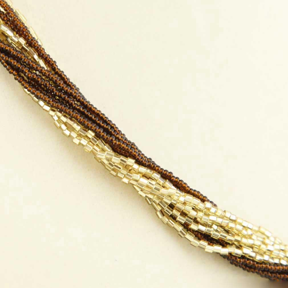 ベネチアングラス(ムラノガラス) 12連ビーズネックレス トパーズ&ゴールド
