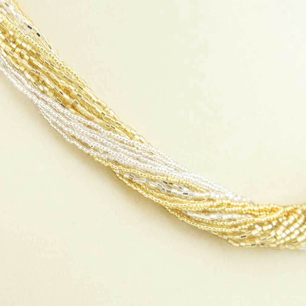 ベネチアングラス(ムラノガラス)グロリオーサ 24連ビーズネックレス ゴールド&シルバー