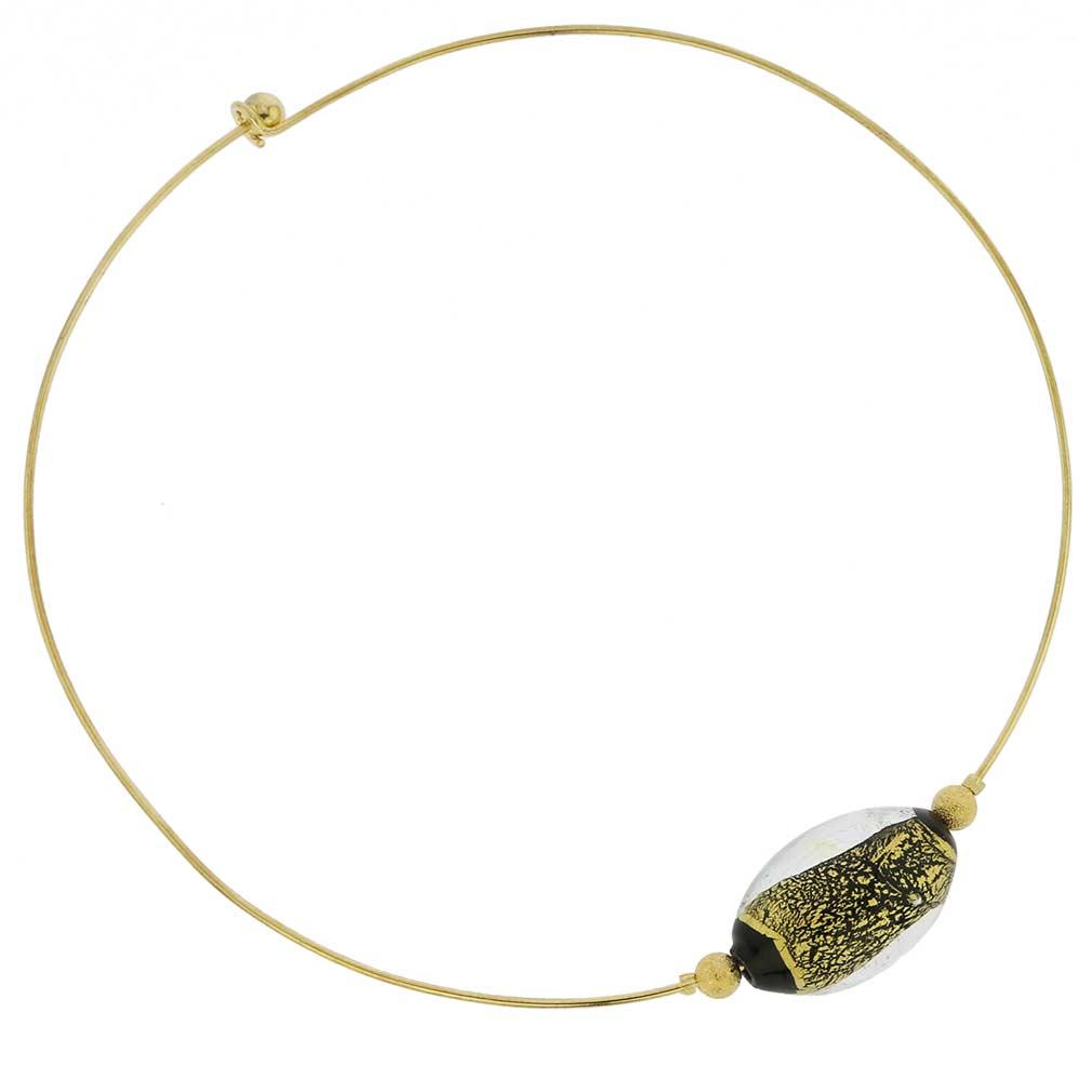 ベネチアングラス(ムラノガラス) チョーカーネックレス ゴールド&シルバー