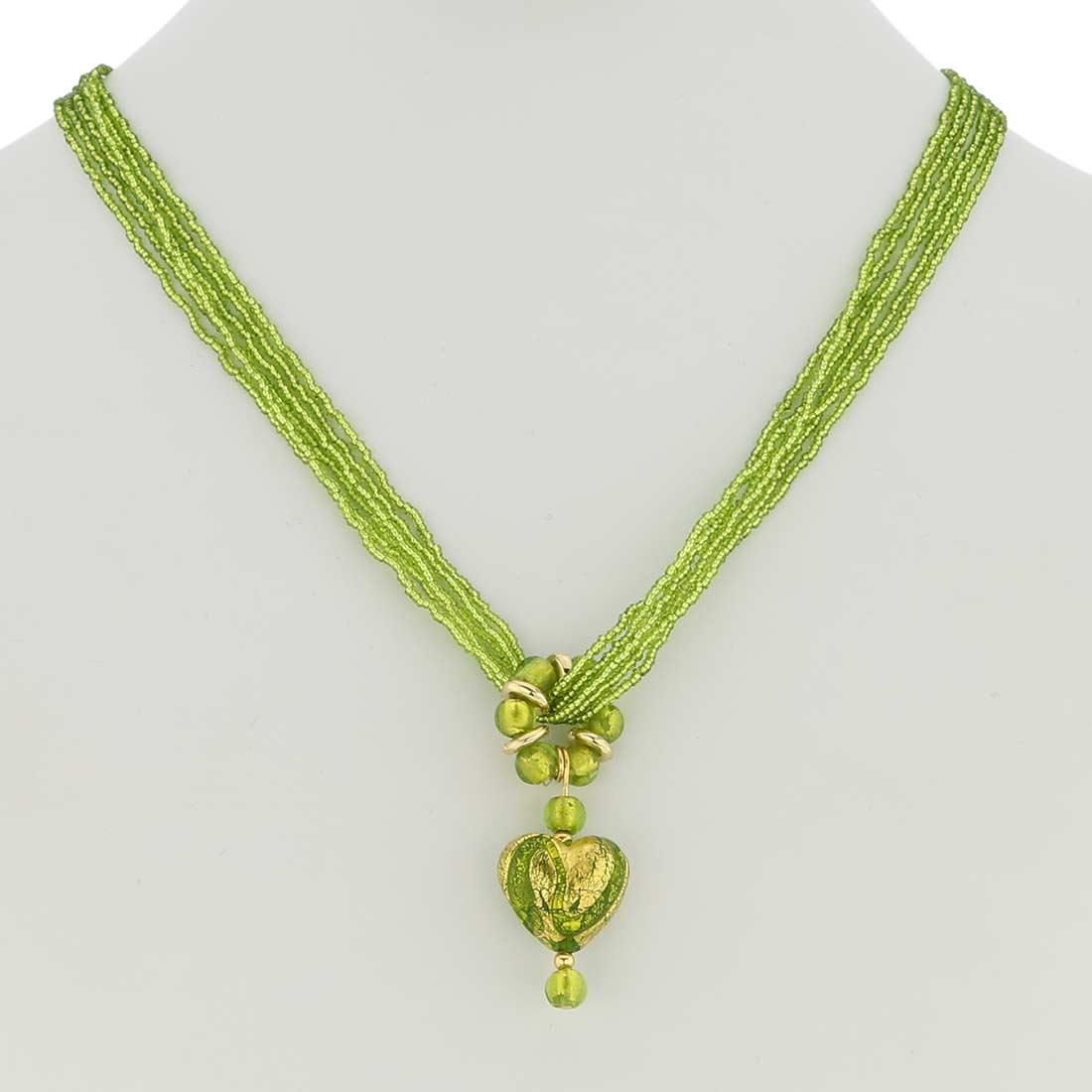 ベネチアングラス(ムラノガラス)ライムグリーン ハート型ネックレス