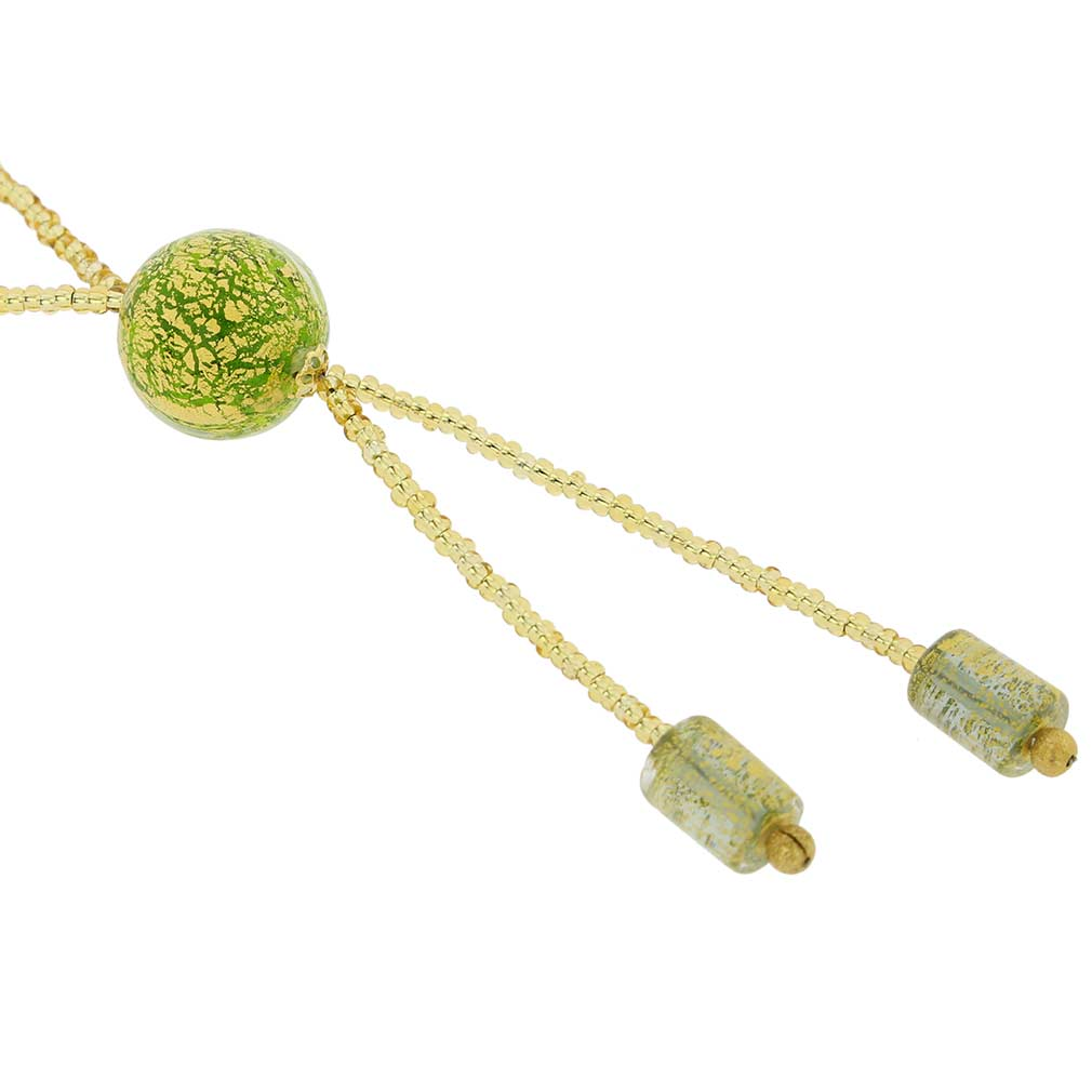 ベネチアングラス(ムラノガラス)ボール ネックレス  グリーン&ゴールド