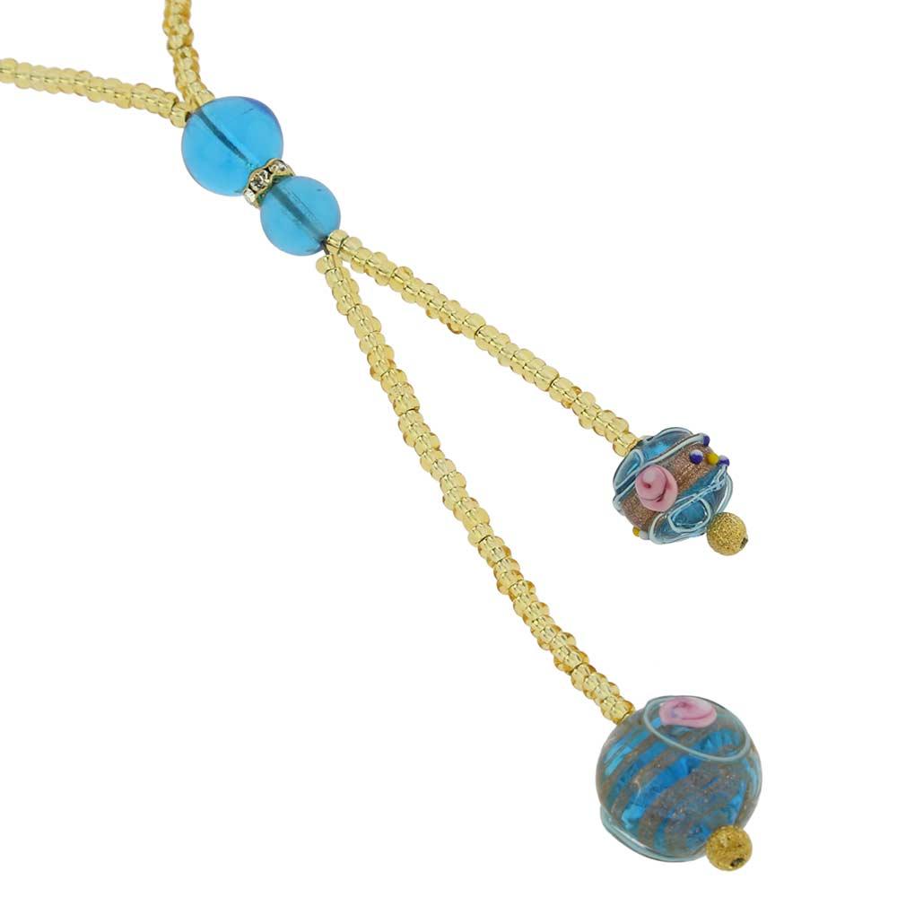 ベネチアングラス フィオラートビーズのネックレス スカイブルー