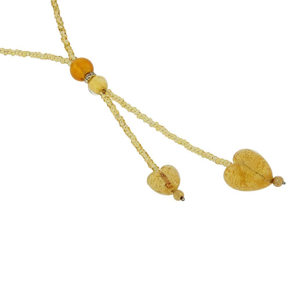 ベネチアングラス(ムラノガラス) ハート型ビーズネックレス コニャク&ゴールド