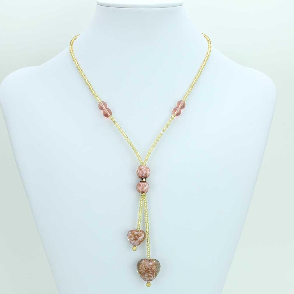 ベネチアングラス(ムラノガラス) ハート型ビーズネックレス ローズピンク