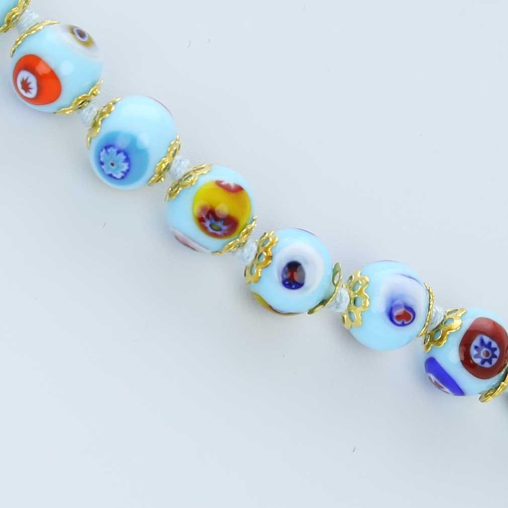 ベネチアングラス(ムラノガラス) モザイクネックレス アクア