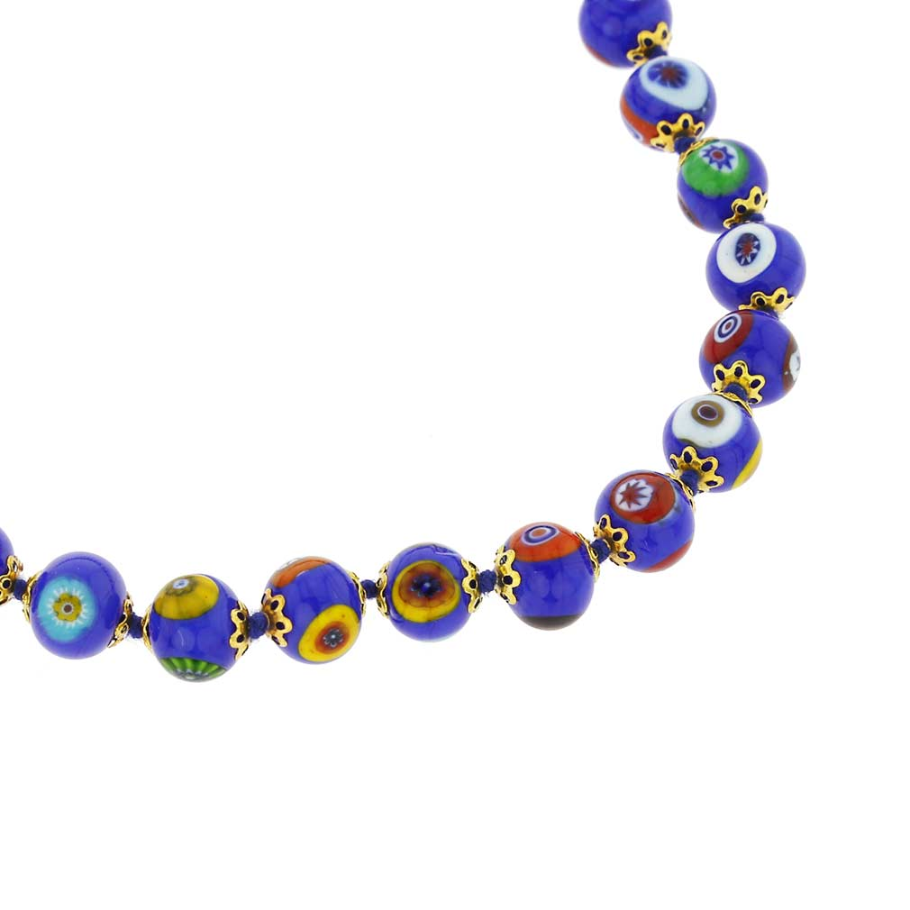 ベネチアングラス(ムラノガラス) モザイクネックレス ブルー