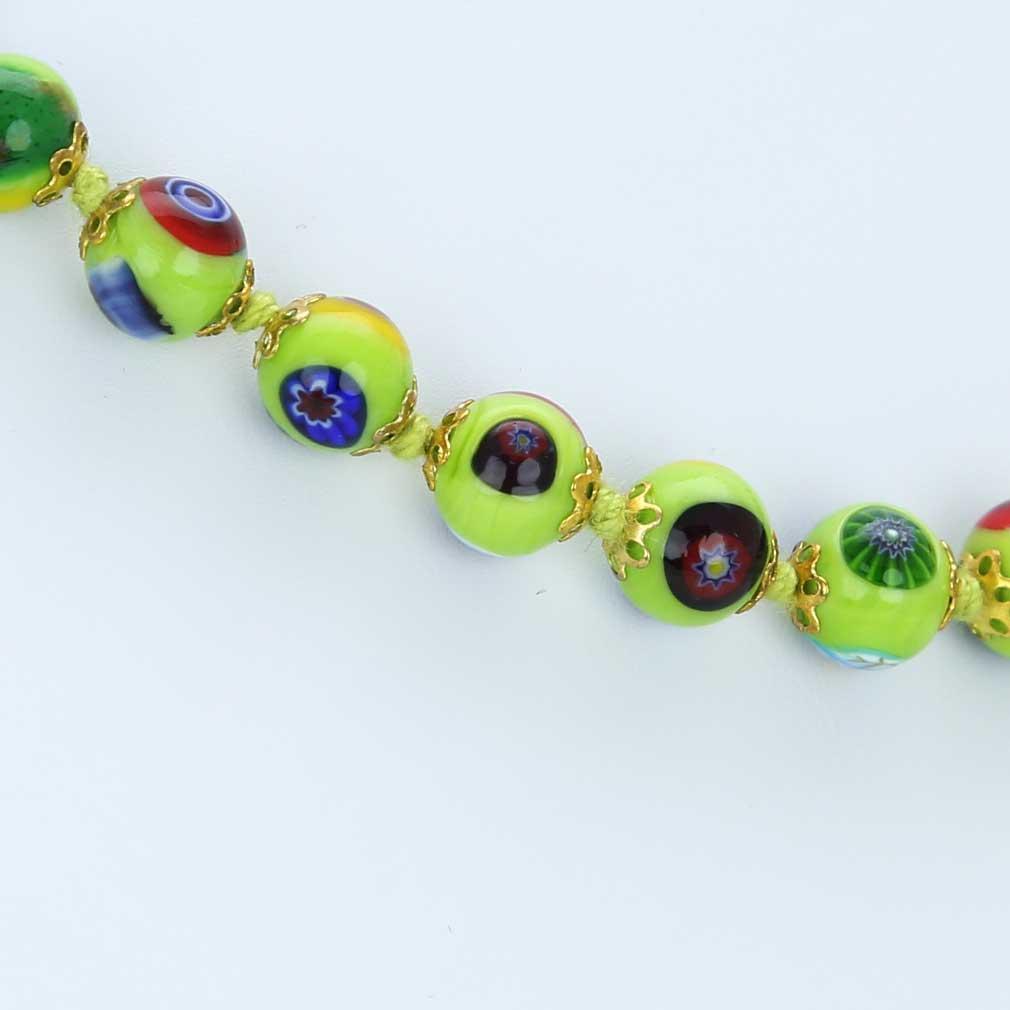 ベネチアングラス(ムラノガラス) モザイクネックレス シーフォアムグリーン