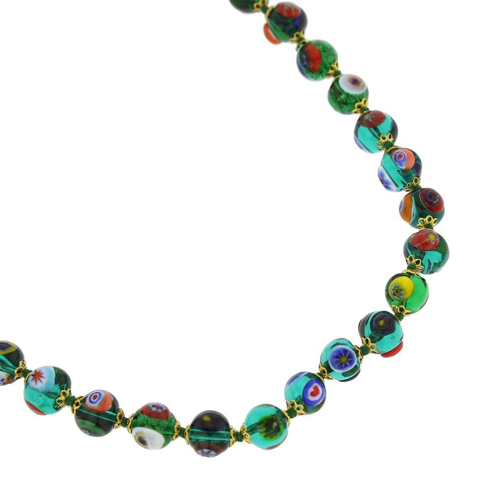 ベネチアングラス(ムラノガラス) モザイクネックレス 透明なグリーン