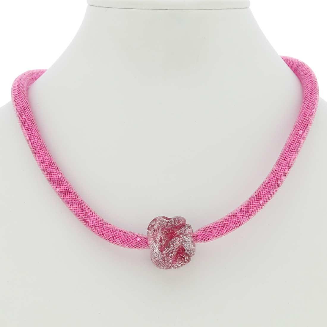 ベネチアングラス(ムラノガラス) ネックレス ローズフラワー ピンク