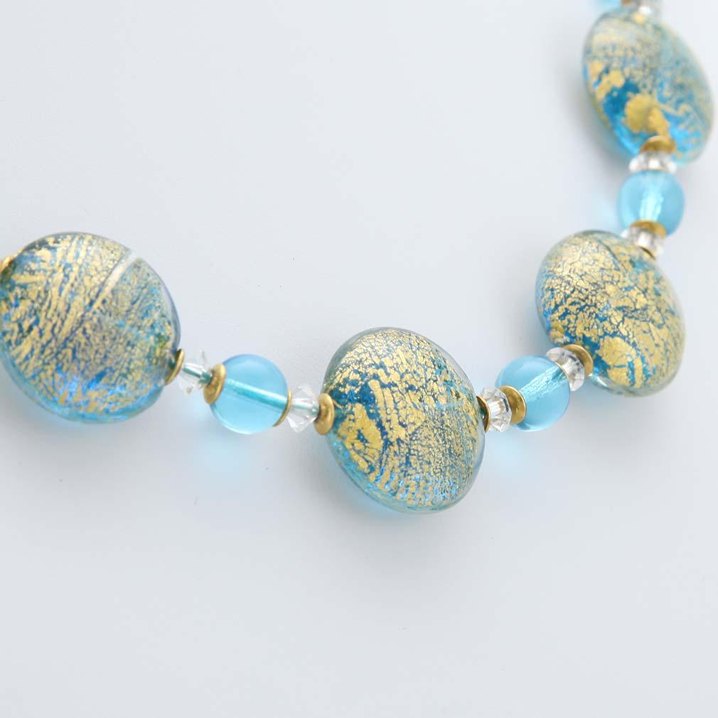 ベネチアングラス(ムラノガラス) ネックレス カ・ドーロ アクア