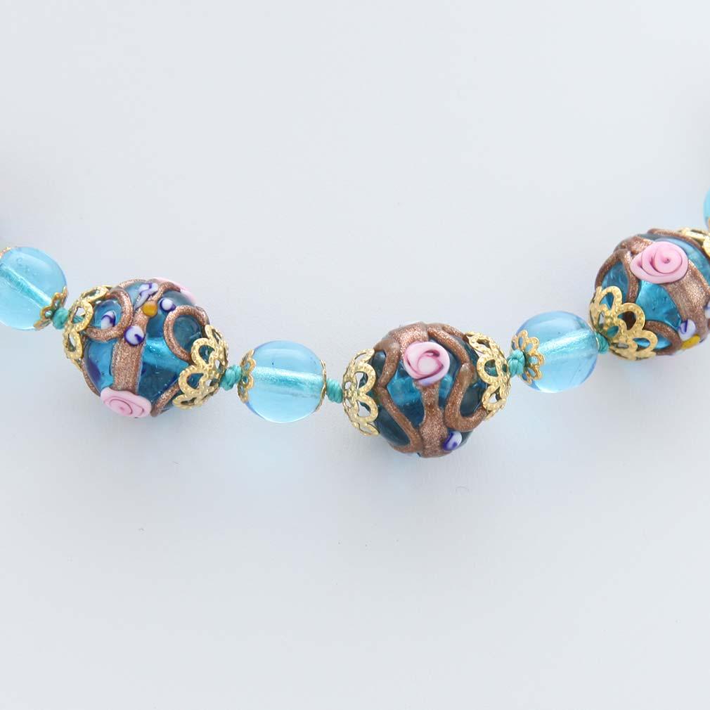ベネチアングラス(ムラノガラス) フィオラートビーズ ネックレス アクア