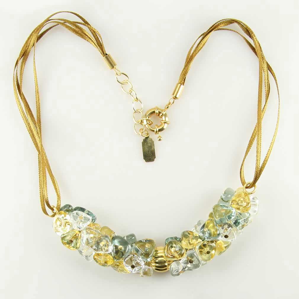 ベネチアングラス(ムラノガラス) ネックレス プレジオーサ ゴールド&シルバーグレイ