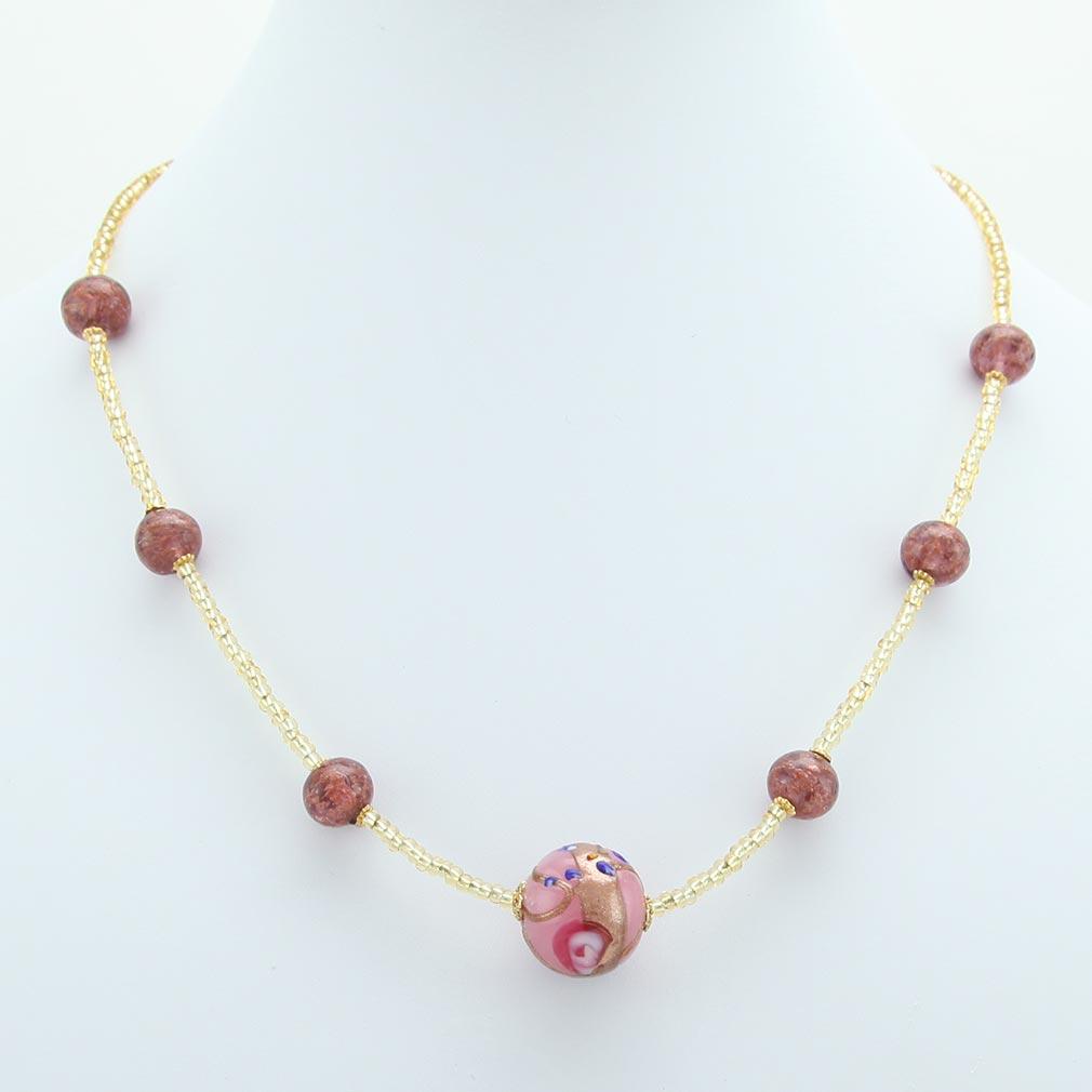 ベネチアングラス(ムラノガラス) フィオラートビーズ ネックレス カーネイションピンク