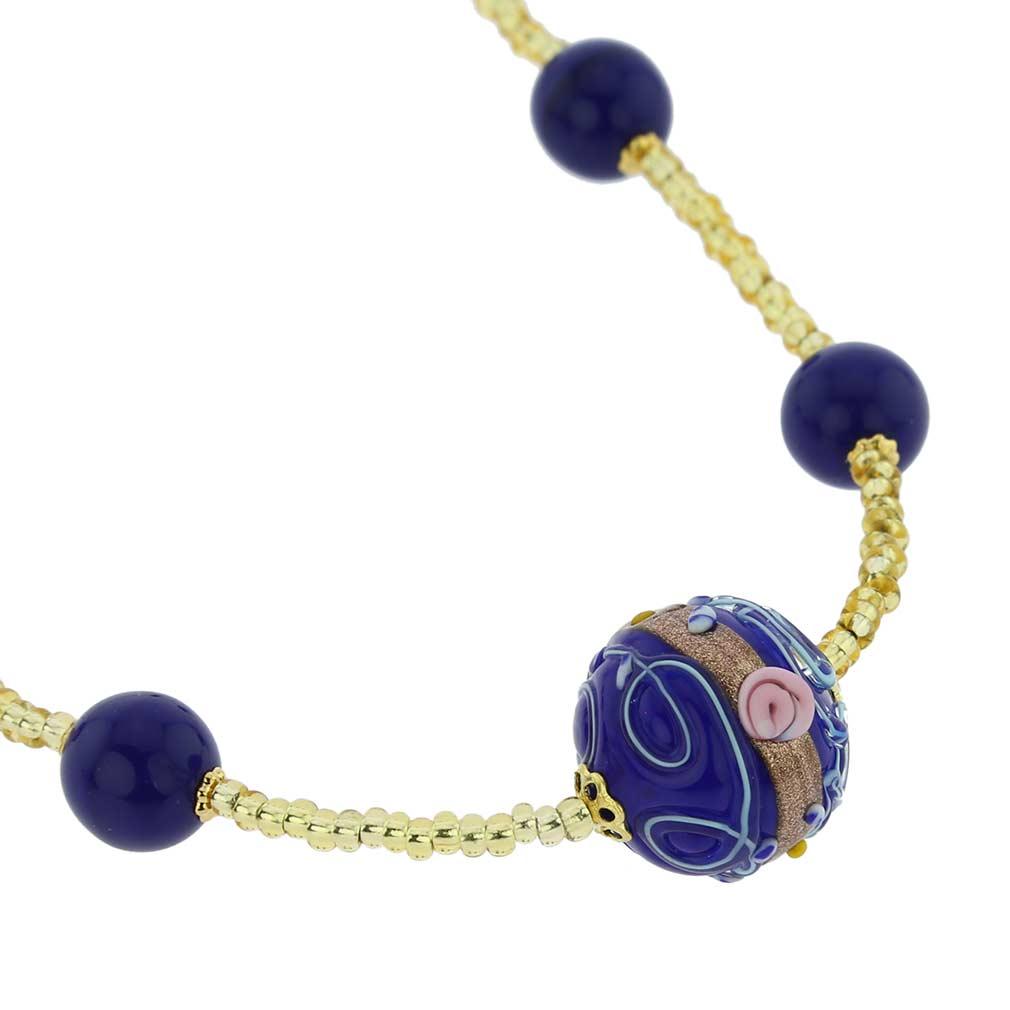 ベネチアングラス(ムラノガラス)フィオラートビーズ ネックレス コバルトブルー