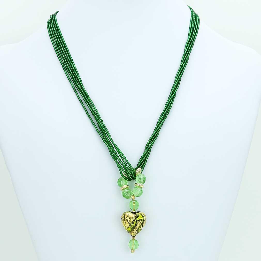 ベネチアングラス(ムラノガラス)ロイヤルグリーン ハート型ネックレス