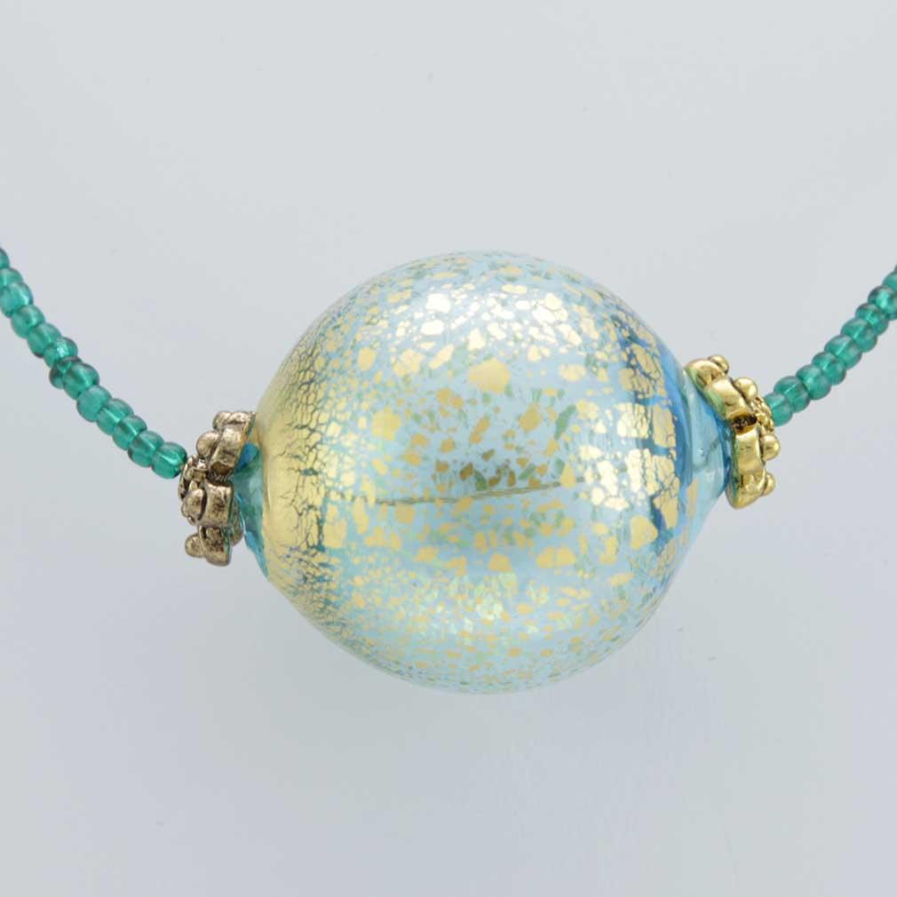 ベネチアングラス(ムラノガラス) ネックレス  セレネッラ アクア