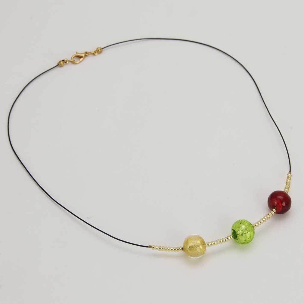 ベネチアングラス(ムラノガラス) ネックレススリーボールズ ゴールドリーフ