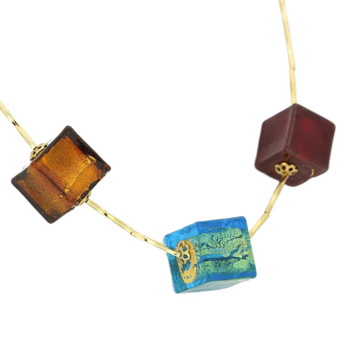 ベネチアングラス(ムラノガラス) ネックレス スリーキューブ ゴールドリーフ