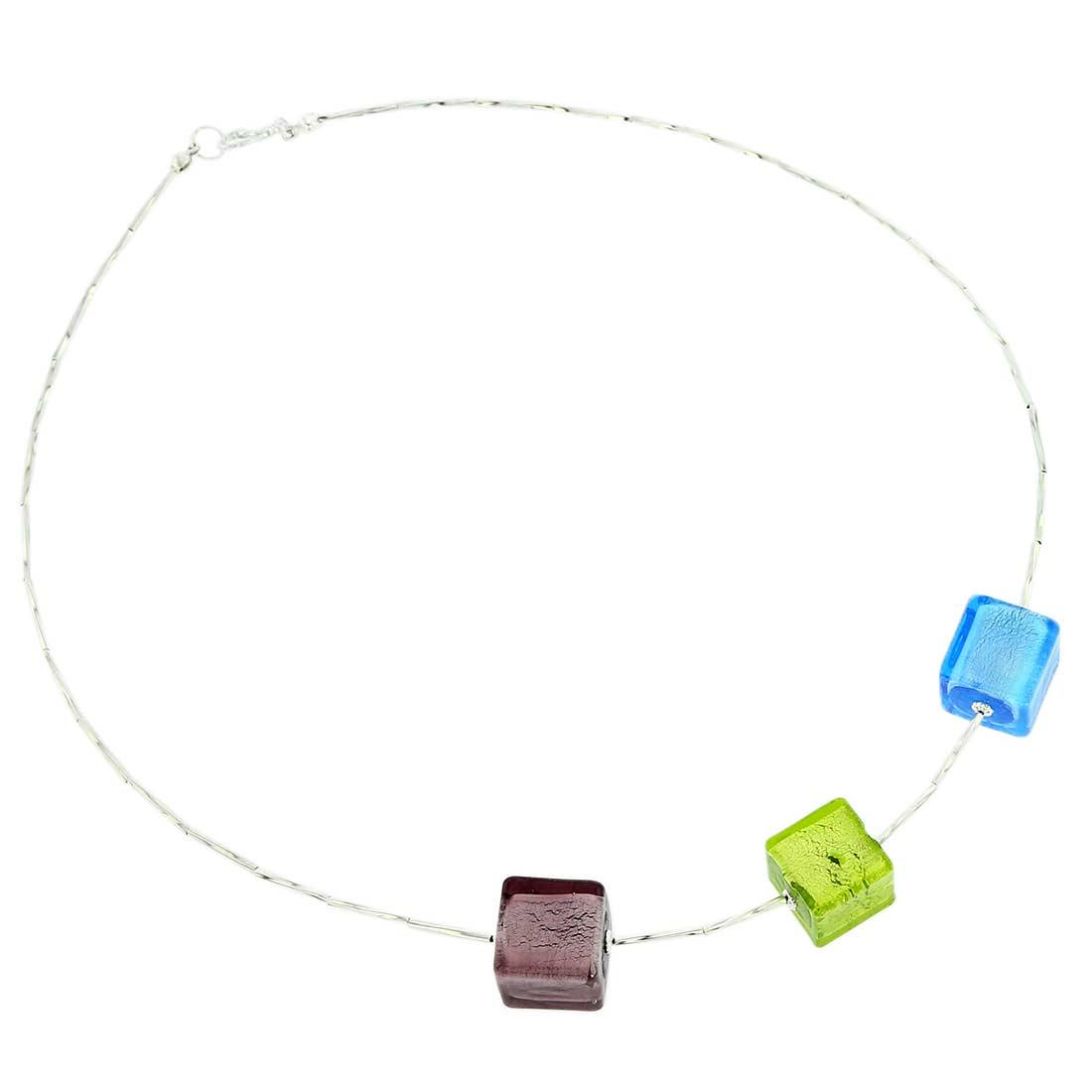 ベネチアングラス(ムラノガラス) ネックレス スリーキューブ シルバーリーフ