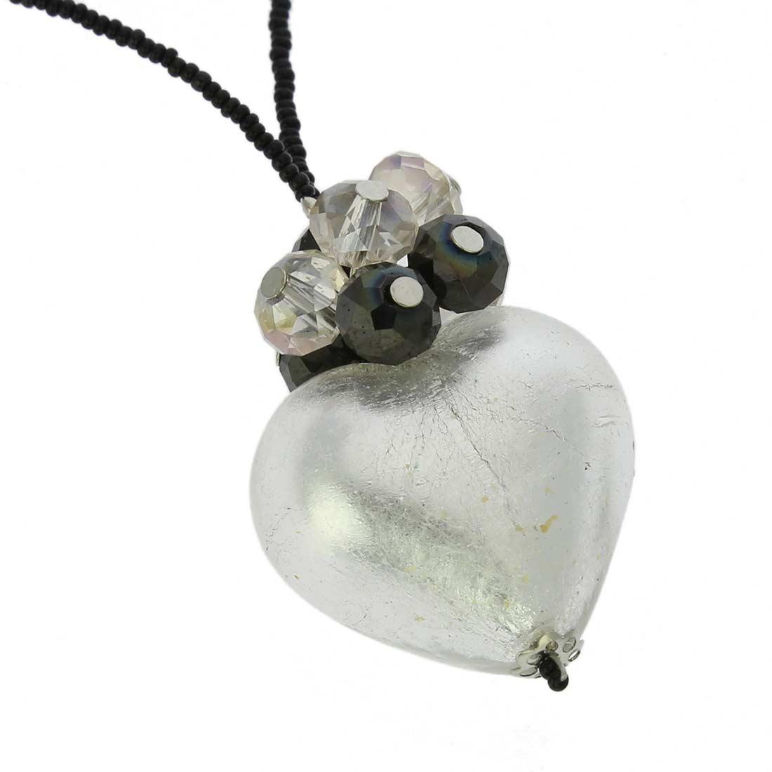 ベネチアングラス(ムラノガラス)ラブ ハートネックレス シルバー