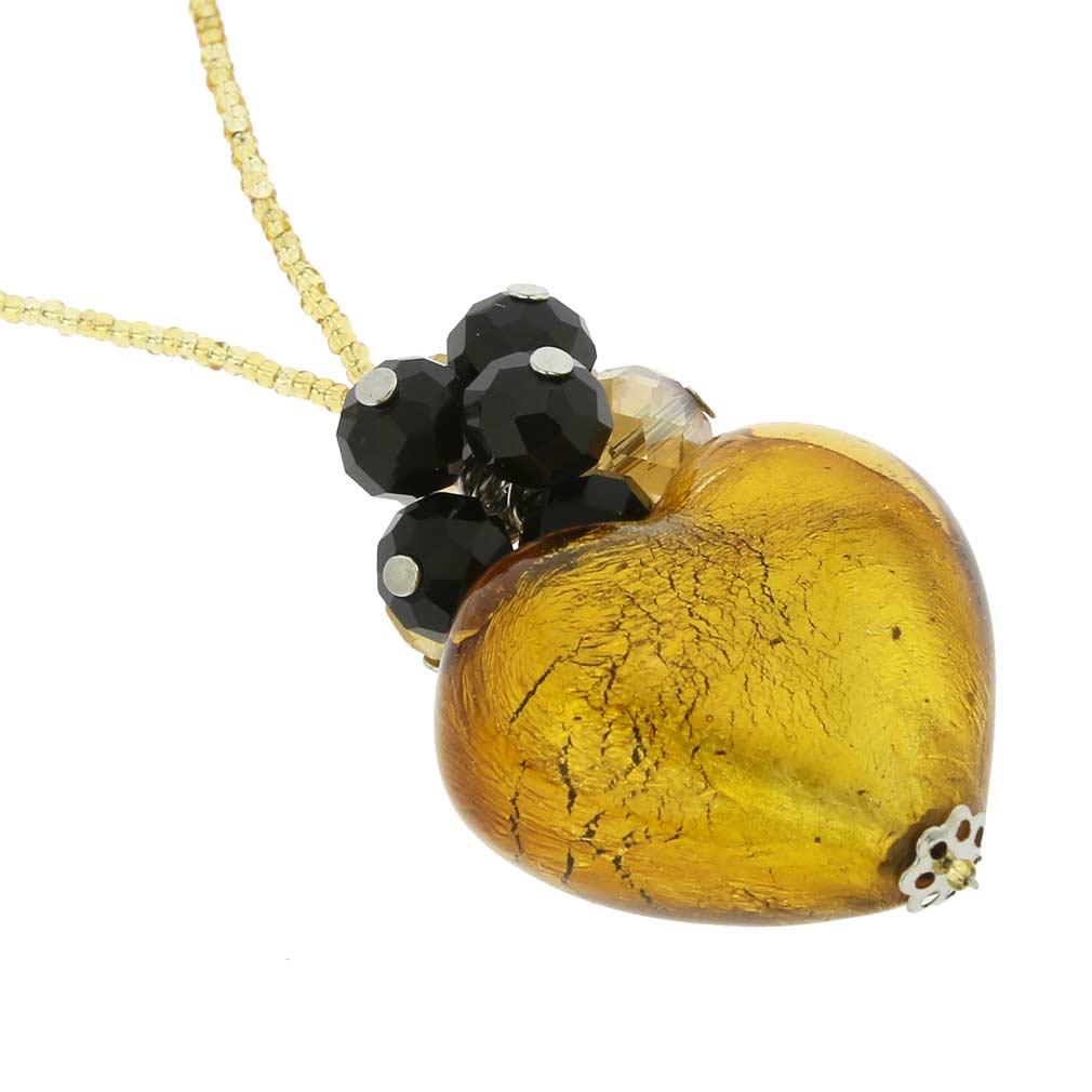 ベネチアングラス(ムラノガラス)ラブ ハートネックレス ゴールド&ブラック
