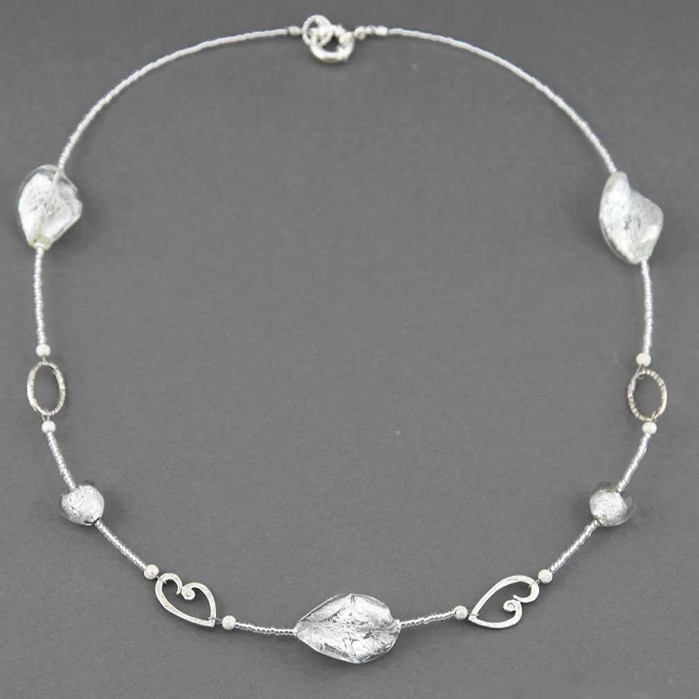 ベネチアングラス(ムラノガラス)ウェディング ハートネックレス
